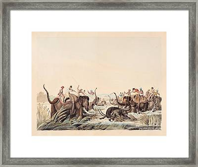 Hunting Scene With Buffalo. Framed Print by MotionAge Designs