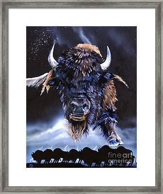 Buffalo Medicine Framed Print by J W Baker