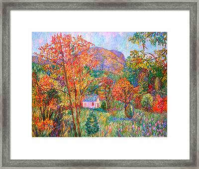 Framed Print featuring the painting Buffalo Mountain In Fall by Kendall Kessler