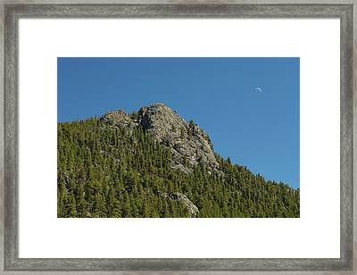 Framed Print featuring the photograph Buffalo Rock With Waxing Crescent Moon by James BO Insogna