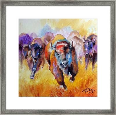 Buffalo Run 16 Framed Print by Marcia Baldwin