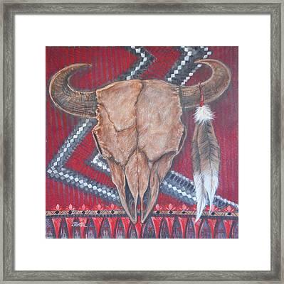 Buffalo Skull On Red Blanket Framed Print