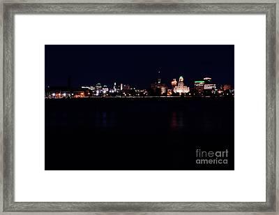 Buffalo Skyline At Night Framed Print by Daniel J Ruggiero