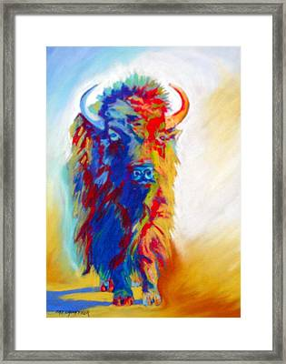 Framed Print featuring the pastel Buffalo Two by Pat Crowther