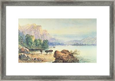 Buffalo Watering Framed Print by Thomas Moran