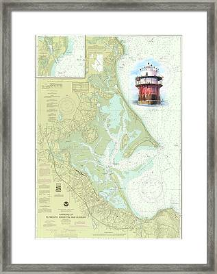 Bug Light On A Noaa Chart Framed Print