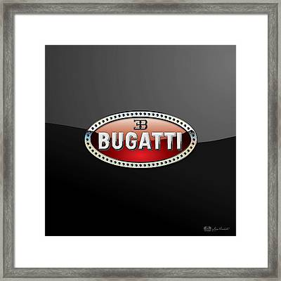 Bugatti - 3 D Badge On Black Framed Print by Serge Averbukh