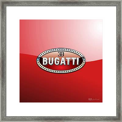 Bugatti - 3 D Badge On Red Framed Print by Serge Averbukh