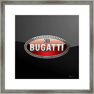Bugatti - 3d Badge On Black Framed Print by Serge Averbukh