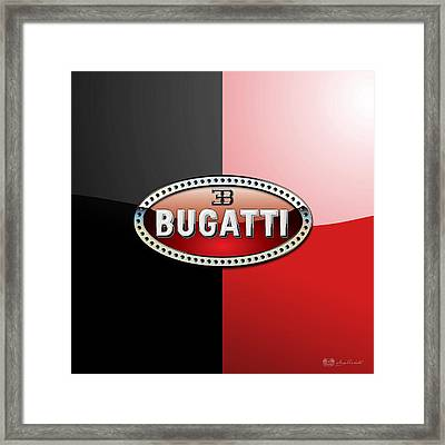 Bugatti 3 D Badge On Red And Black  Framed Print by Serge Averbukh