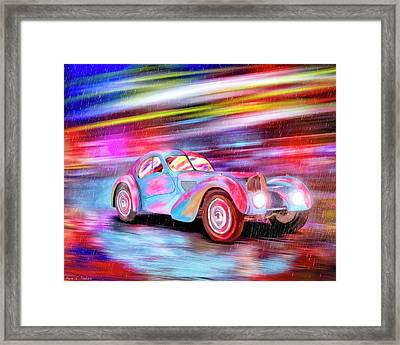 Framed Print featuring the mixed media Bugatti In The Rain - Vintage Dreams by Mark Tisdale