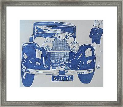 Framed Print featuring the drawing Bugatti by Mike Jeffries