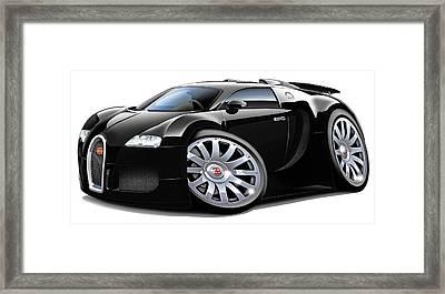 Bugatti Veyron Black Car Framed Print by Maddmax