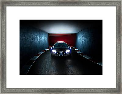 Bugatti Veyron In Secret Tunnel Framed Print