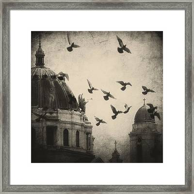 Bugle Blowing Church Angel And Birds Framed Print