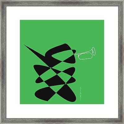 Bugle In Green Framed Print by David Bridburg