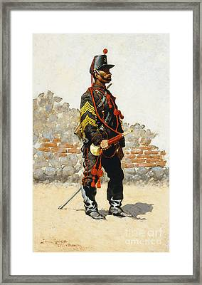 Bugler Of The Cavalry Framed Print by Frederic Remington