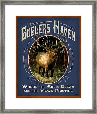 Buglers Haven Sign Framed Print by JQ Licensing