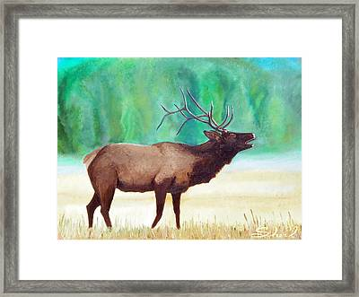 Framed Print featuring the painting Bugling Elk by Sherril Porter