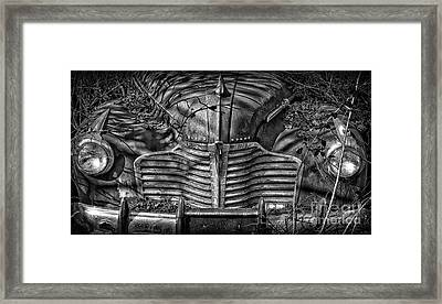Buick Eight Front End Bw Framed Print