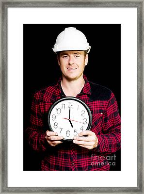 Builder With Clock Showing Home Time Framed Print by Jorgo Photography - Wall Art Gallery