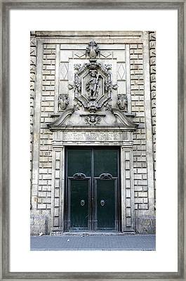 Building Artwork And Old Door In Barcelona Framed Print