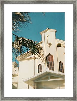 Building Behind Palm Tree In Ostia, Rome Framed Print