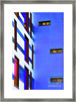 Framed Print featuring the digital art Building Block - Blue by Wendy Wilton
