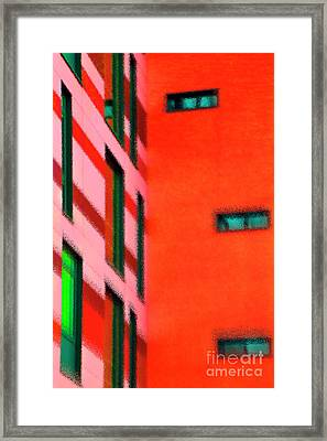 Framed Print featuring the digital art Building Block - Red by Wendy Wilton