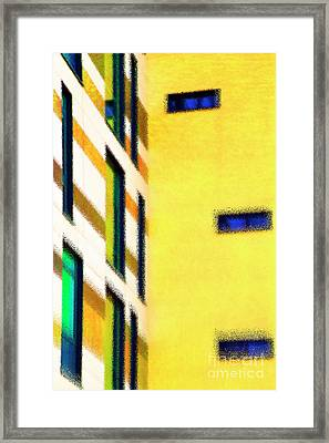 Framed Print featuring the digital art Building Block - Yellow by Wendy Wilton