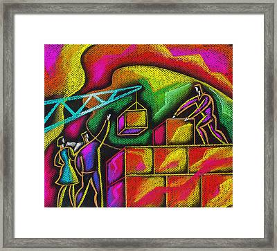 Building Blocks Of Success Framed Print by Leon Zernitsky