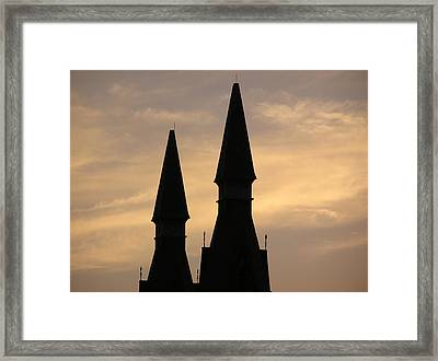 Building Peaks And Sky Framed Print by Richard Mitchell