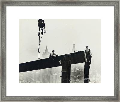 Building The Empire State Building Framed Print by LW Hine