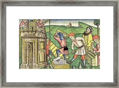 Building The Tower Of Babel Framed Print by German School