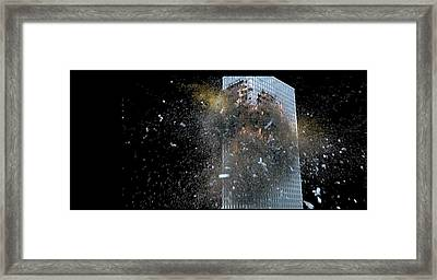 Framed Print featuring the digital art Building_explosion by Marcia Kelly
