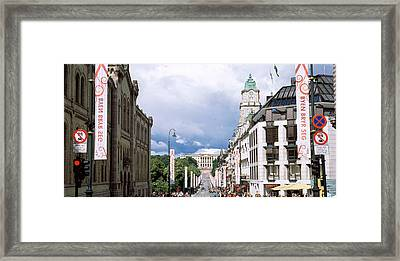 Buildings Along A Street With Royal Framed Print by Panoramic Images