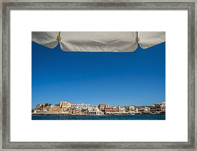 Buildings Along The Harbour  Chania Framed Print