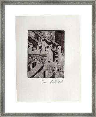 Buildings And Wood Framed Print
