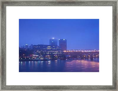 Buildings At The Riverside Lit Framed Print by Panoramic Images