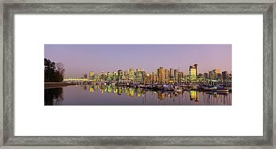 Buildings Lit Up At Dusk, Vancouver Framed Print