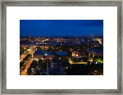 Buildings Lit Up At Dusk, Vecriga, Old Framed Print by Panoramic Images