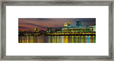 Buildings Lit Up At Night, Cincinnati Framed Print by Panoramic Images