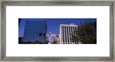 Buildings Near Confederate Monument Framed Print