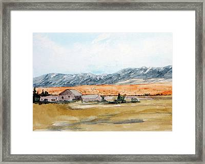 Buildings On A Colorado Ranch With Mountain Landscape Framed Print by R Kyllo