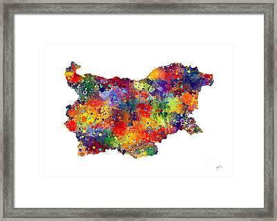 Bulgaria Map 2 Watercolor Print  Framed Print by Svetla Tancheva