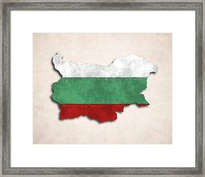 Bulgaria Map Art With Flag Design Framed Print by World Art Prints And Designs