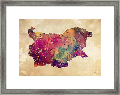 Bulgaria Map Watercolor Print  Framed Print by Svetla Tancheva