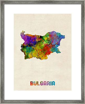 Bulgaria Watercolor Map Framed Print by Michael Tompsett