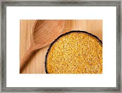Bulgur Wheat Groats Closeup Framed Print by Arletta Cwalina