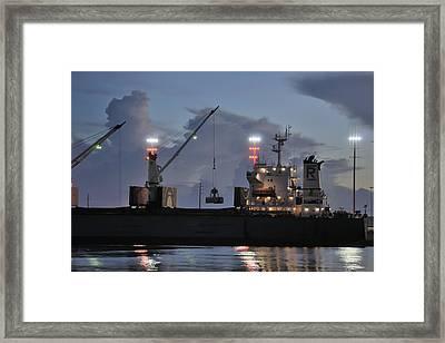 Bulk Cargo Carrier Loading At Dusk Framed Print by Bradford Martin